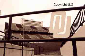 "Memorial Stadium ""OU"" on Gate"